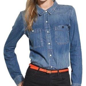 Madewell Chambray Denim Boyshirt Blouse Size XS